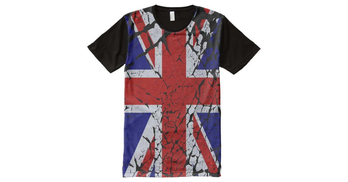 Cool Distorted Union Jack Flag Of The Uk All Over Print T