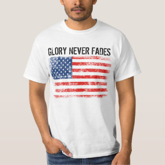 Cool Distressed American Flag Glory Never Fades T-Shirt
