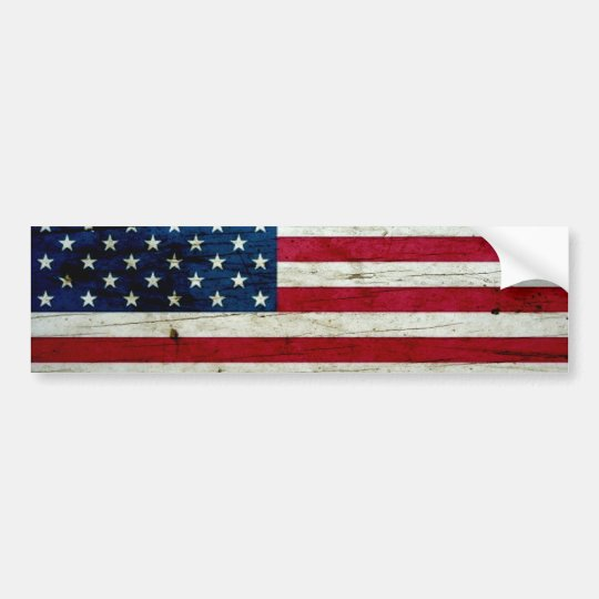 Cool Distressed American Flag Wood Rustic Bumper Sticker