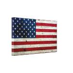 Cool Distressed American Flag Wood Rustic Canvas Prints