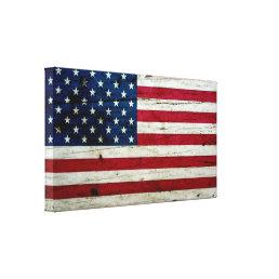 Cool Distressed American Flag Wood Rustic Canvas Print