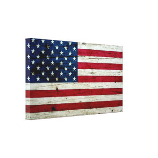 Cool Distressed American Flag Wood Rustic Canvas Print