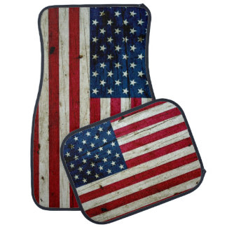 Cool Distressed American Flag Wood Rustic Car Floor Mat