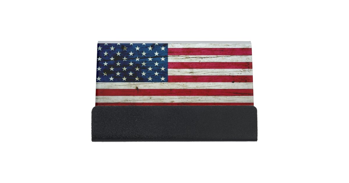 Cool Distressed American Flag Wood Rustic Desk Business Card Holder Zazzle Com