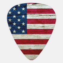 Cool Distressed American Flag Wood Rustic Guitar Pick