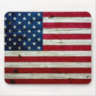 Cool Distressed American Flag Wood Rustic Mouse Pad