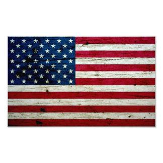 Cool Distressed American Flag Wood Rustic Photo Print