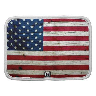 Cool Distressed American Flag Wood Rustic Folio Planner
