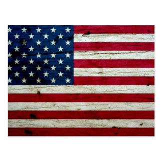 Cool Distressed American Flag Wood Rustic Postcard
