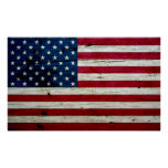 Cool Distressed American Flag Wood Rustic Poster