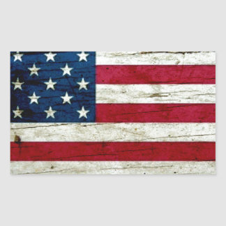 Cool Distressed American Flag Wood Rustic Rectangular Sticker