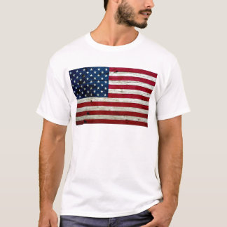Cool Distressed American Flag Wood Rustic T-Shirt