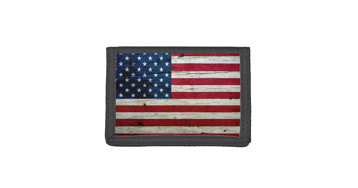 dd77d5928bf Cool Distressed American Flag Wood Rustic Tri-fold Wallet