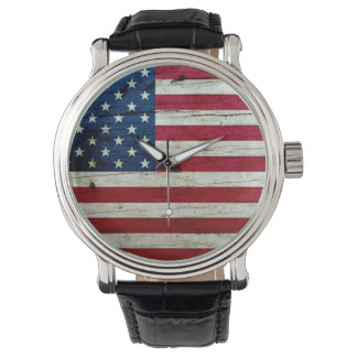 Cool Distressed American Flag Wood Rustic Wrist Watch