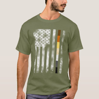 Cool Distressed Bear Pride On White American Flag T-Shirt