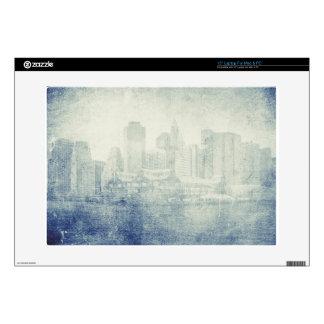 "Cool distressed city skyline vintage effect design decals for 15"" laptops"