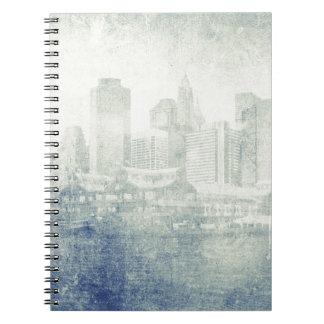 Cool distressed city skyline vintage effect design spiral notebook