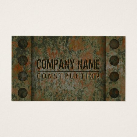 Distressed Rusted Metal Business Cards Template