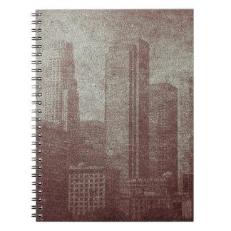 Cool distressed vintage City skyline effect Spiral Notebook