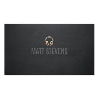 Cool DJ Gold Headphones Black Music Double-Sided Standard Business Cards (Pack Of 100)