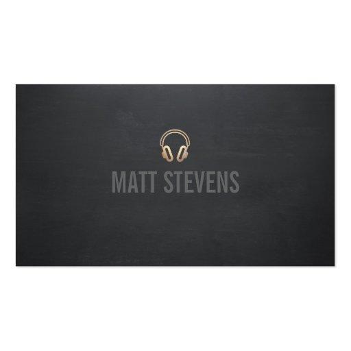 Cool DJ Gold Headset Black Music Business Card Templates