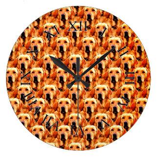 Cool Dog Art Doggie Golden  Retriever Abstract Clocks