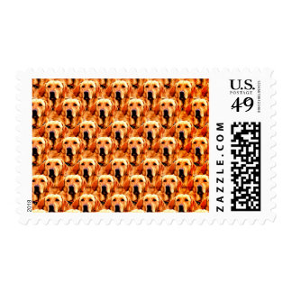 Cool Dog Art Doggie Golden  Retriever Abstract Postage