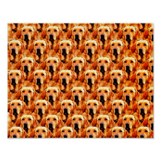 Cool Dog Art Doggie Golden Retriever Abstract Poster