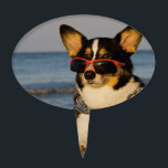 "Cool Dog at the Beach Cake Topper<br><div class=""desc"">Cool dog on the beach looking over sunglasses at the sunset... YogiCorgi is dedicated to creating fun and beautiful products for people to enjoy, share, and promote as gifts. We are a Zazzle Elite ProSeller and own the copyright to all the images presented and ALL of our products are made...</div>"