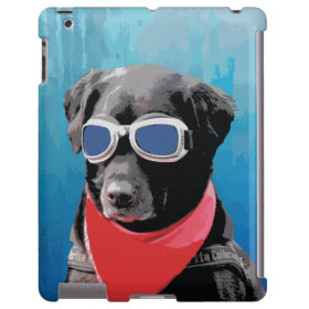 Cool Dog Black Lab Red Bandana Blue Goggles