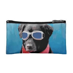 Cool Dog Black Lab Red Bandana Blue Goggles Cosmetic Bag
