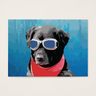 Cool Dog Black Lab Red Bandana Blue Goggles Business Card