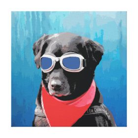 Cool Dog Black Lab Red Bandana Blue Goggles Gallery Wrap Canvas