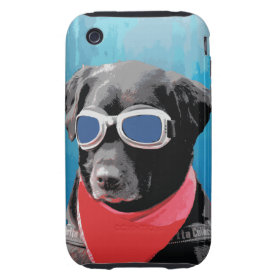 Cool Dog Black Lab Red Bandana Blue Goggles iPhone 3 Tough Cases