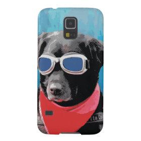 Cool Dog Black Lab Red Bandana Blue Goggles Galaxy S5 Cases