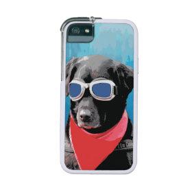 Cool Dog Black Lab Red Bandana Blue Goggles iPhone 5 Case
