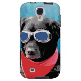 Cool Dog Black Lab Red Bandana Blue Goggles Galaxy S4 Case