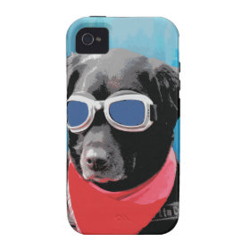 Cool Dog Black Lab Red Bandana Blue Goggles iPhone 4/4S Covers
