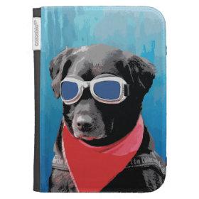 Cool Dog Black Lab Red Bandana Blue Goggles Kindle 3G Cases