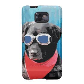 Cool Dog Black Lab Red Bandana Blue Goggles Samsung Galaxy SII Case
