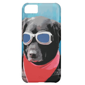 Cool Dog Black Lab Red Bandana Blue Goggles iPhone 5C Cases