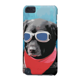Cool Dog Black Lab Red Bandana Blue Goggles iPod Touch (5th Generation) Cover
