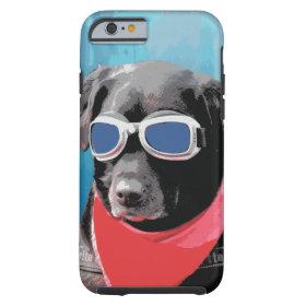 Cool Dog Black Lab Red Bandana Blue Goggles iPhone 6 Case