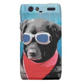 Cool Dog Black Lab Red Bandana Blue Goggles Droid RAZR Case