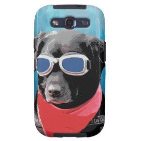 Cool Dog Black Lab Red Bandana Blue Goggles Galaxy S3 Cases