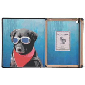 Cool Dog Black Lab Red Bandana Blue Goggles Cover For iPad