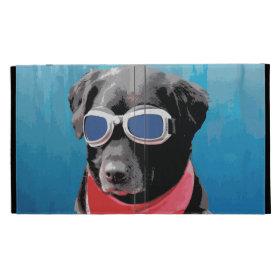 Cool Dog Black Lab Red Bandana Blue Goggles iPad Folio Covers
