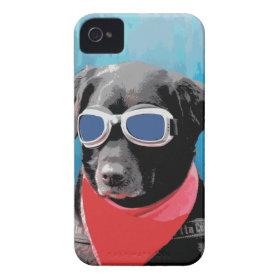 Cool Dog Black Lab Red Bandana Blue Goggles iPhone 4 Case-Mate Case