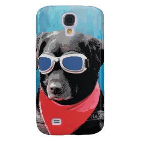 Cool Dog Black Lab Red Bandana Blue Goggles Samsung Galaxy S4 Case