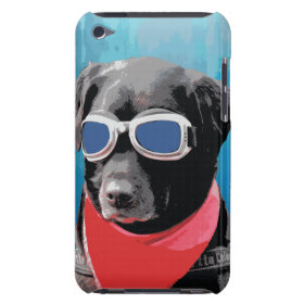 Cool Dog Black Lab Red Bandana Blue Goggles Barely There iPod Covers